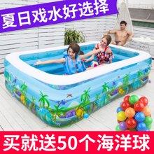 漫游宝宝恐龙乐园充气游泳池恐龙图案豪华版(150长*110宽*50高CM)