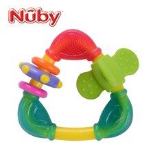 努比(Nuby) 婴儿牙胶磨牙棒硅胶 三角咬环固齿器 红色旋转件