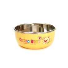 日康宝宝不锈钢碗带盖子防烫饭碗婴儿童餐具(黄色)(RK3805)