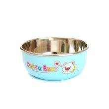日康宝宝不锈钢碗带盖子防烫饭碗婴儿童餐具(蓝色)(RK3805)