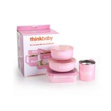 Thinkbaby辛克宝贝 婴幼儿不锈钢餐具套装 4件套 粉色