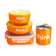Thinkbaby辛克宝贝 婴幼儿不锈钢餐具套装 4件套 橙色