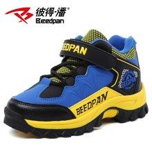 彼得潘童鞋 冬季新款男童登山鞋加绒保暖中大童休闲户外鞋潮P1017