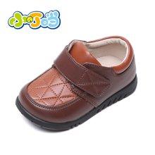 小叮当童鞋男宝宝皮鞋秋季新品软底学步鞋黄色英伦风男童皮鞋DC60001