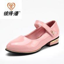 彼得潘女童鞋 儿童皮鞋春季新款女童公主鞋黑色学生休闲皮鞋P6002