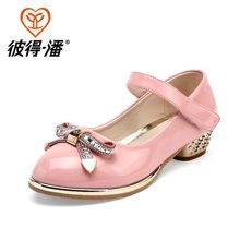 彼得潘女童鞋春季新款儿童皮鞋女童公主鞋中小童黑色休闲皮鞋P6003