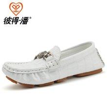 彼得潘童鞋 春秋新款男童休闲皮鞋中小童时尚皮鞋儿童豆豆鞋P909