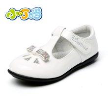 小叮当黑色童鞋女童皮鞋春季新款公主单鞋水钻学生春秋潮鞋子DA60112/212