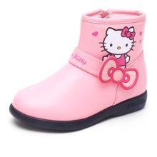 HelloKitty女童皮靴2017冬季新款女孩加绒中筒靴子K7646801