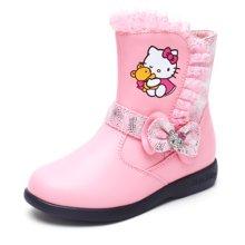 HelloKitty女童皮靴2017冬季新款女孩加绒中筒靴子K7646802