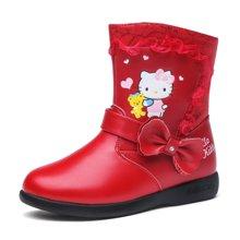 HELLO KITTY女童皮靴冬季保暖靴子2017新款加绒皮靴女孩中筒靴K6480902