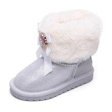 HELLO KITTY童鞋女童雪地靴2017女孩中筒加绒时装靴中童保暖鞋子K7646806