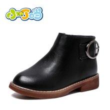 小叮当女童短靴韩版纯色简约公主皮靴中小童保暖靴子校园儿童潮靴DD78517