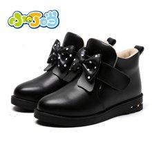 小叮当女童棉靴2017冬季新款韩版保暖公主皮靴中小童靴子低跟童靴DD70816
