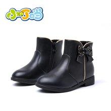 小叮当加绒女童靴子2017冬季真皮儿童短靴公主鞋中小童保暖童鞋DD70830