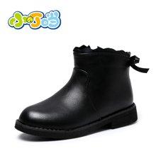 小叮当女童短靴2017年冬季新款韩版简约公主低帮皮靴中小童潮靴子DD78515