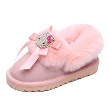 HELLO KITTY童鞋女童2017年冬款保暖棉鞋加棉拖鞋加绒短靴雪地靴K7646805