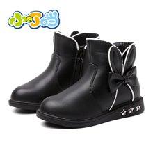 小叮当加绒女童短靴2017秋冬新款蝴蝶结小童靴子儿童可爱公主皮靴DD70910