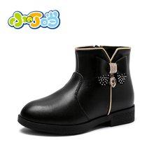 小叮当女童靴子2017冬季新款儿童韩版公主皮靴中小童保暖加绒短靴 DD70815