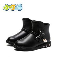 小叮当女童皮靴2017冬季新款韩版公主短靴中小童加绒靴子儿童冬靴DD70813