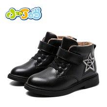 小叮当女童棉靴2017冬季新款韩版简约休闲皮靴公主靴子学生短靴潮DD70812