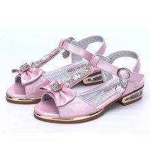 Hello Kitty凯蒂猫2017新品夏款鱼嘴凉鞋女童鞋低跟时装皮鞋软底舞蹈鞋K7625809