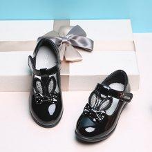 小叮当童鞋女童单鞋春季新款韩版可爱兔儿公主皮单鞋小童潮鞋DA72001