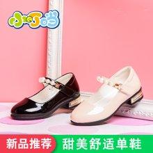 小叮当女童皮鞋2018春季新款韩版纯黑色珍珠带公主单鞋白色学生鞋DA80607