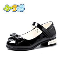 小叮当女童皮鞋2018春季新款韩版蝴蝶结公主单鞋学生鞋DA80608
