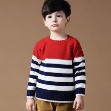 迪斯兔/disitu童装男童毛衣纯棉圆领套头中大童英伦线衫条纹儿童针织衫潮M1036