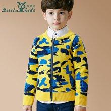 迪斯兔/disitu童装迷彩男童毛衣开衫外套中大童圆领拉链衫儿童针织衫潮M1521