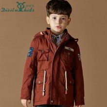 迪斯兔/disitu童装男童棉衣连帽新中大童外套夹克中长款儿童夹棉外套潮A1242