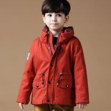 迪斯兔/disitu童装男童外套加绒中长款中大童新款夹棉开衫夹克儿童棉衣K1216