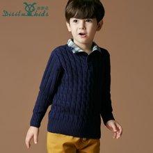 迪斯兔/disitu童装男童毛衣加厚套头中大童高领针织衫韩版儿童可翻领线衫潮M1002