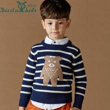 迪斯兔/disitu男童英伦毛衣套头中大童条纹打底衫纯棉童装长袖儿童针织衫潮M0603
