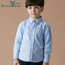 迪斯兔/disitu童装男童衬衣长袖纯棉儿童衬衫纯色中大童英伦翻领上衣外套C1801
