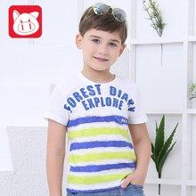 小猪班纳童装男童T恤2016夏季新款中大童圆领短袖针织衫条纹短T