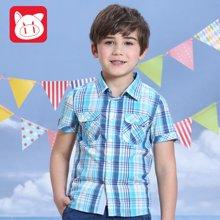 小猪班纳童装新款男童衬衫2016夏季短袖休闲衬衣儿童中大童纯棉