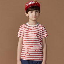 迪斯兔/disitu男童条纹T恤纯棉圆领夏装儿童短袖T恤潮F2046