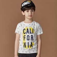 迪斯兔/disitu男童短袖T恤纯棉圆领中大童上衣儿童字母印花T恤衫潮F2044