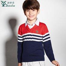 迪斯兔/disitu童装男童毛衣中大童纯棉假两件针织衫儿童V领套头上衣M1531