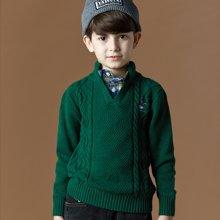 迪斯兔/disitu男童衬衫领假两件毛衣秋冬新款中大童套头线衫儿童英伦毛衣潮M1507