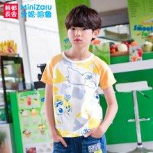 米妮哈鲁童装2017夏款韩版男童T恤儿童短袖T恤YW6230莟