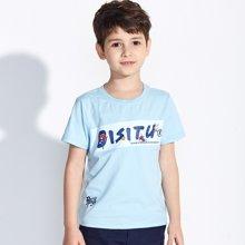 迪斯兔/disitu男童T恤短袖纯棉圆领夏装上衣字母印花中大童体恤儿童T恤F1303