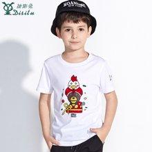 迪斯兔/disitu男童短袖T恤中大童薄上衣鸡年卡通体恤儿童圆领T恤夏装潮F2601