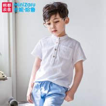 米妮哈鲁童装2017夏装新款男童中大童韩版上衣儿童衬衫ZE5318熣