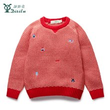 迪斯兔/disitu儿童圆领毛衣保暖纯色图案点缀打底衫儿童上衣针织衫M2411