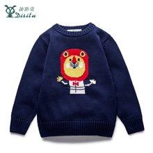 迪斯兔/disitu儿童圆领毛衣线衫保暖儿童针织衫卡通图案上衣M2415