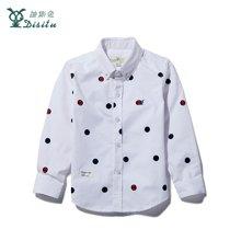 迪斯兔/disitu秋季男童衬衫长袖 英伦风男童白衬衫儿童纯棉波点寸衫C1817