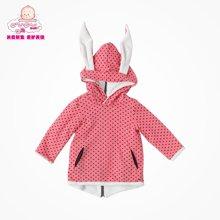 丑丑婴幼加绒长袖外套拉链衫女宝宝波点里珊瑚绒外套童装儿童加绒